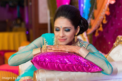 Indian bride photo session at sangeet ceremony