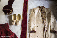 Indian groom sherwani, turban and shoes