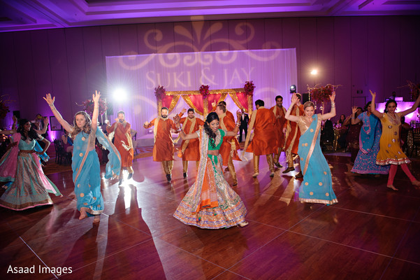 indian bridesmaids' fashion,indian groomsmen fashion,monogramed dance floor