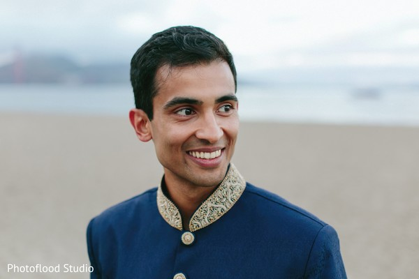 Indian groom photo session after wedding reception in San Francisco, CA Fusion Wedding by Photoflood Studio