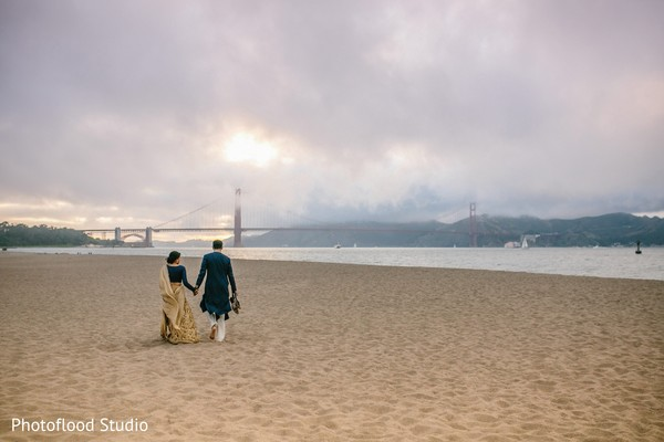 Indian couple photo session after wedding reception in San Francisco, CA Fusion Wedding by Photoflood Studio