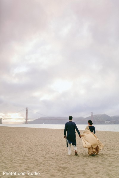 Lovely indian couple photo session after wedding reception in San Francisco, CA Fusion Wedding by Photoflood Studio