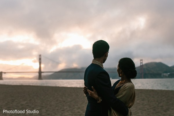 Indian couple hugging after wedding reception in San Francisco, CA Fusion Wedding by Photoflood Studio
