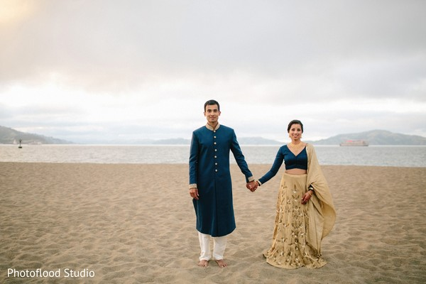 Indian couple outdoor photography after wedding reception in San Francisco, CA Fusion Wedding by Photoflood Studio