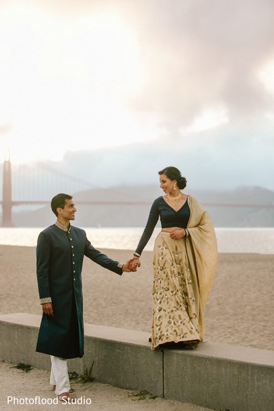 Indian couple photography after wedding reception in San Francisco, CA Fusion Wedding by Photoflood Studio