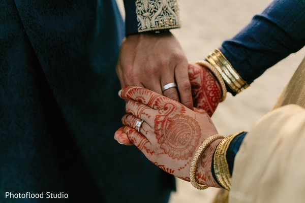 Indian couple wedding rings photography in San Francisco, CA Fusion Wedding by Photoflood Studio