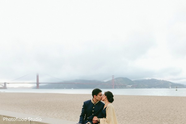 Lovely indian couple kissing after wedding reception in San Francisco, CA Fusion Wedding by Photoflood Studio