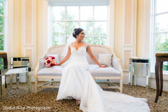 Gorgeous bride in her white wedding dress
