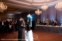monogramed dance floor,lightning,indian wedding reception