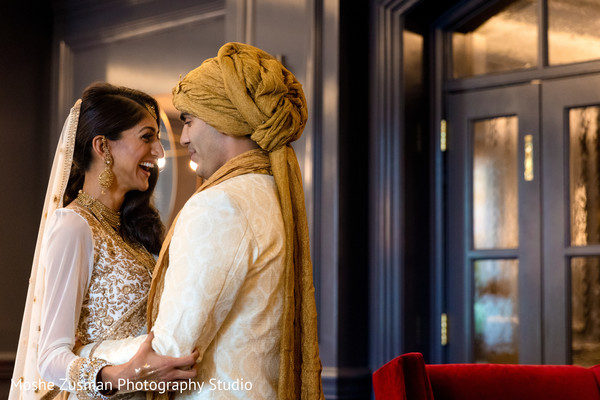 Lovely matching wedding outfits in Washington, D.C. Indian Fusion Wedding by Moshe Zusman Photography Studio
