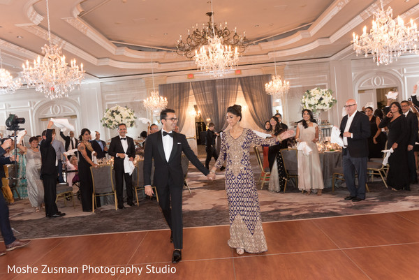 Lovely couple making their entrance in Washington, D.C. Indian Fusion Wedding by Moshe Zusman Photography Studio