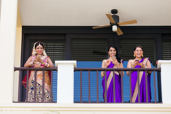 Indian bride with bridesmaids. in Nieuwpoort, Curaçao Indian Wedding by KSD Weddings