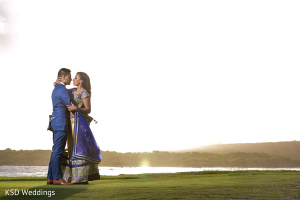 Indian couple in paradise. in Nieuwpoort, Curaçao Indian Wedding by KSD Weddings
