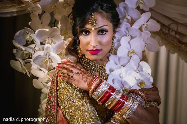 Vibrant portrait of indian bride. in Cincinnati, OH Indian Wedding by Nadia D Photography