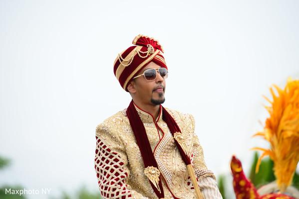 red turban,golden sherwani