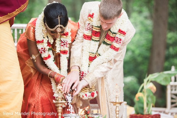 Lovely couple during their wedding in Wellesley, Massachusetts Fusion Indian Wedding by Irena Mandel Photography