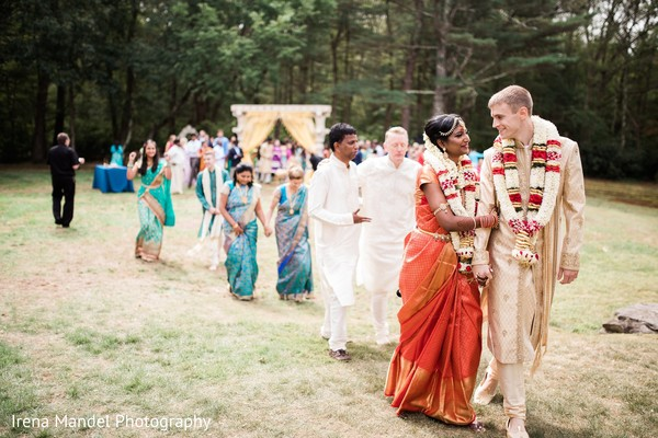 Backyard wedding ceremony in Wellesley, Massachusetts Fusion Indian Wedding by Irena Mandel Photography