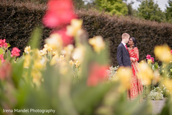 Lovely newlyweds in Wellesley, Massachusetts Fusion Indian Wedding by Irena Mandel Photography