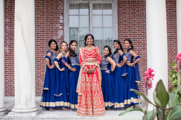 Maharani with lovely bridesmaids in Wellesley, Massachusetts Fusion Indian Wedding by Irena Mandel Photography