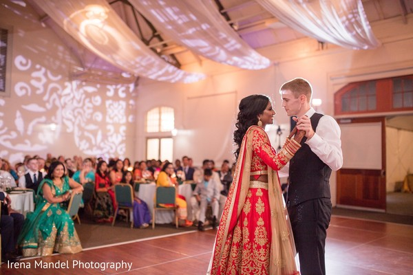 indian bridal lengha,indian fusion wedding reception,indian bride and groom first dance