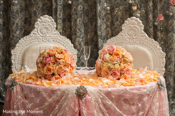 newlyweds table,indian wedding floral and decor