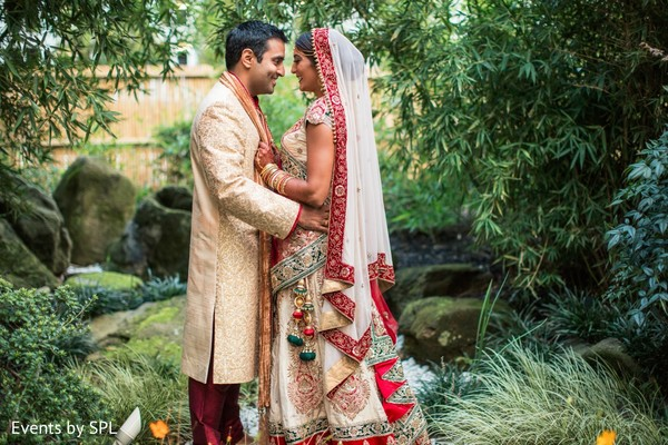indian bride,indian bridean groom portrait,indian wedding first look