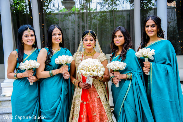 indian bride,indian bridesmaids,bridal bouquets