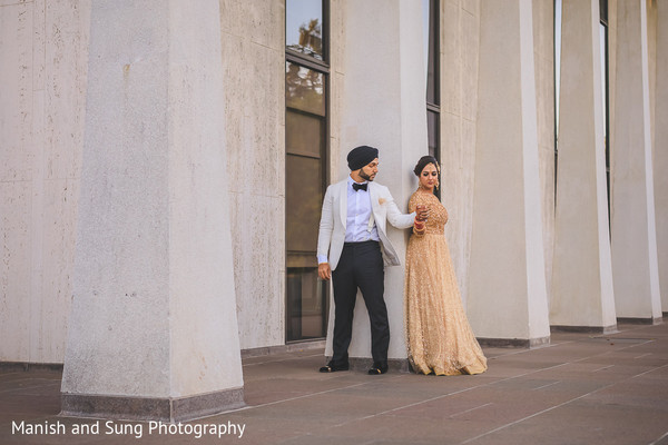 indian wedding portrait,sikh newlyweds photo