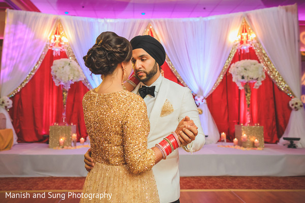 indian fusion wedding reception,indian bride and groom first dance
