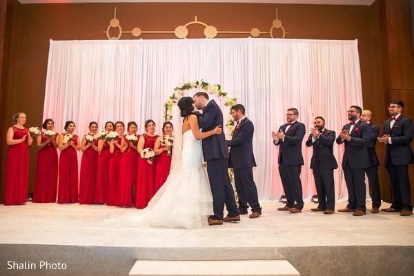 american wedding ceremony,indian wedding dress,newlyweds