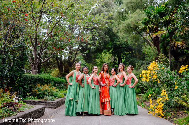Indian bride and bridesmaids outdoor photography before wedding ceremony