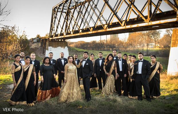 indian bride,indian bridesmaids,indian groomsmen,indian fusion wedding reception