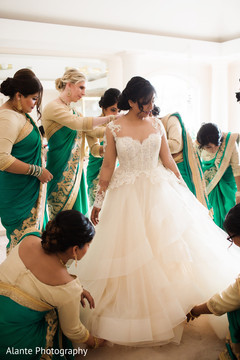 Gorgeous bride getting ready