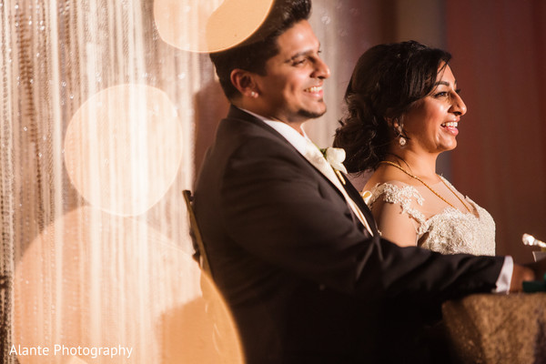 newlyweds,indian fusion wedding reception,indian wedding couple