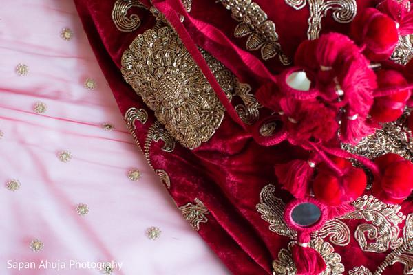 Lovely red velvet embroider lengha.