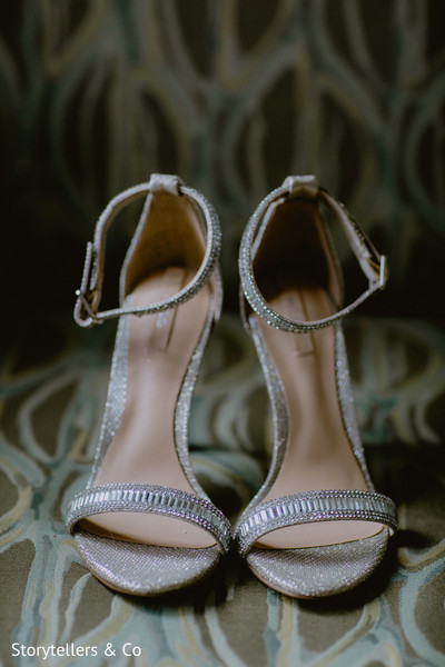 Silver bridal shoes.