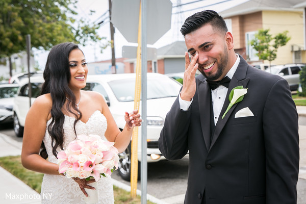 Indian groom feeling emotional with the bride before wedding ceremony