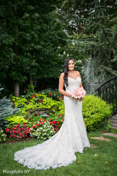 Beautiful indian bride outdoor photography before wedding ceremony