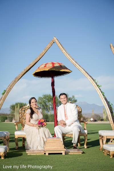 Outdoor bride and groom portrait
