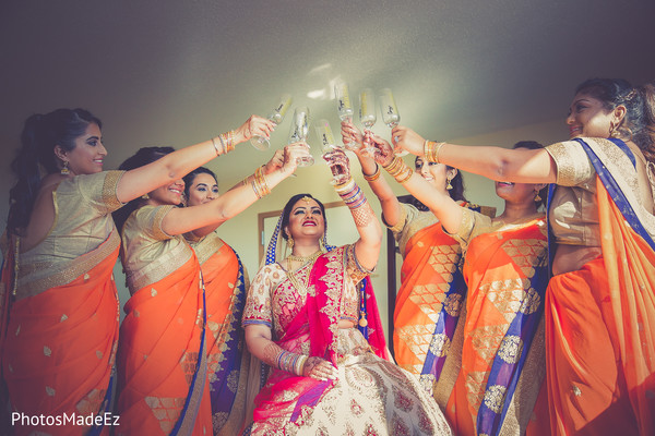 indian bride,indian bridesmaids,indian bride getting ready,indian bride makeup