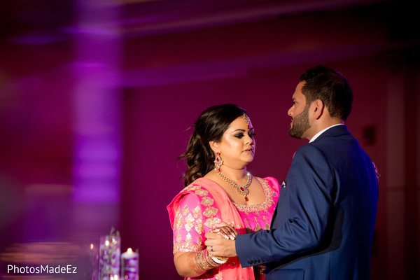 Indian newlyweds having their first dance.