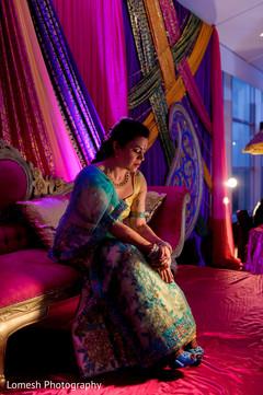 indian pre-wedding celebrations,sangeet decoration,bride portrait