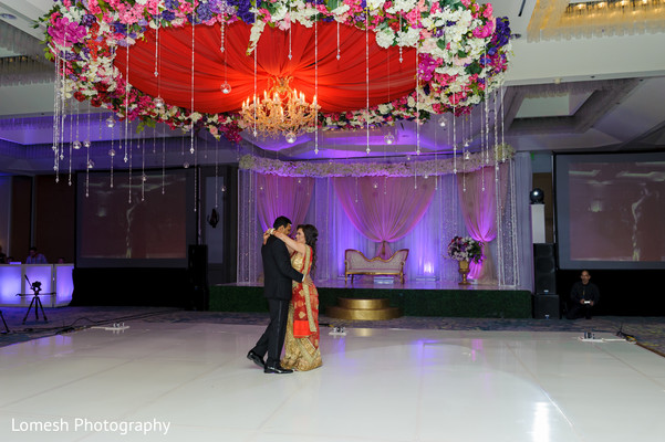 Indian wedding couple having their first dance.