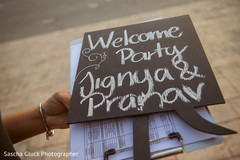 Welcome party sign.