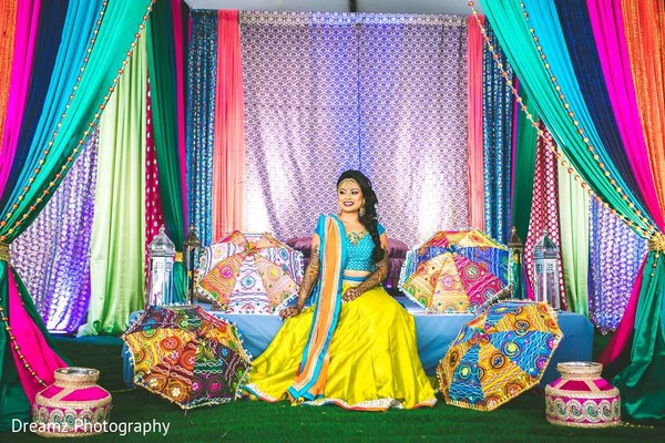 Gorgeous maharani in a yellow and turquoise lengha