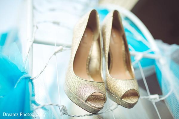Golden open toe heels