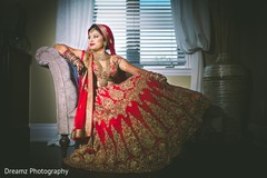 Dreamy red and gold bridal lengha