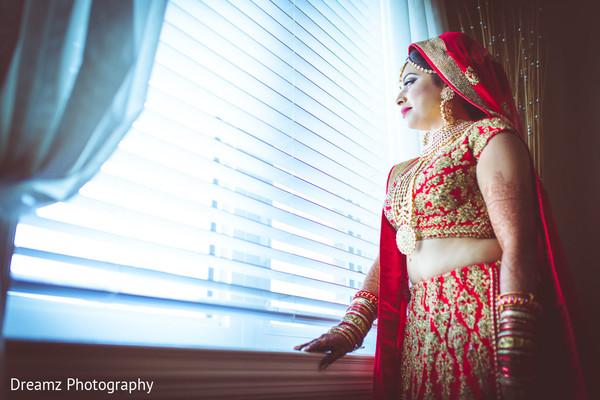 Rich red and gold lengha