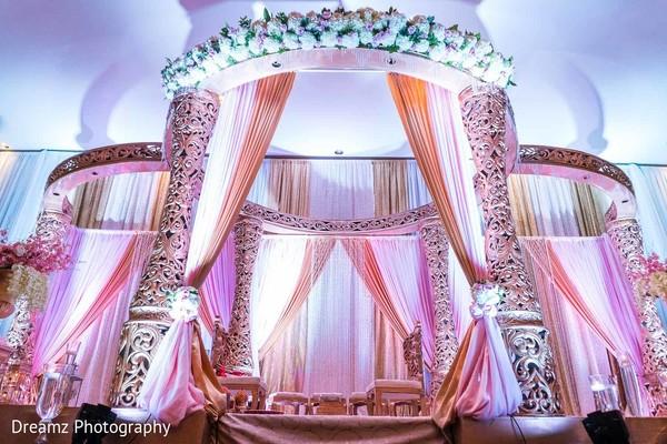 Gorgeous pink palette mandap