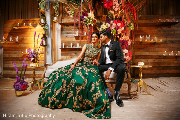 Indian bride and groom in elegant reception fashion. in Dallas, TX Indian Wedding by Hiram Trillo Art Photography